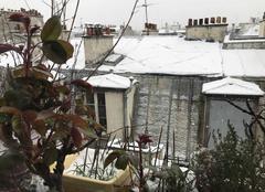 Ciel Paris-18 75018 Retour de la neige sur les toits de zinc parisiens
