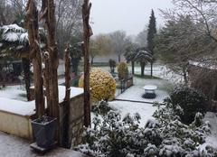 Neige Saintes 17100 Jardin charentais veille de printemps