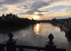 Ciel Romans-sur-Isere 26100 Sur le pont au couchant, par un froid glacial