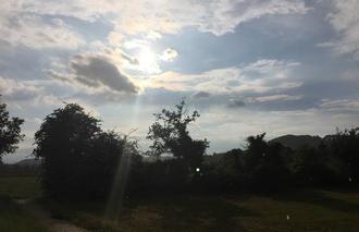 Ciel Mours-Saint-Eusebe 26540 Pluie sur soleil couchant