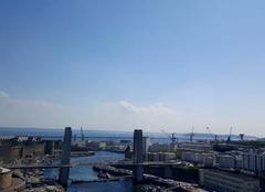 Chaleur Brest 29200 Brest sous un chaud soleil,vue du téléphérique!