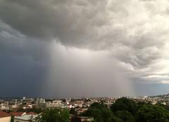 Nuages Nancy 54000 Orage avec rideau de pluie arrivant sur Nancy