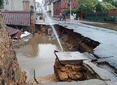 Orage Bonnetable 72110 Le mur de lenceinte du chateau de bonnetable effondre apres les forte pluies