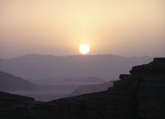 Climat Ma'An Coucher de sleil dans le Wadi Rum