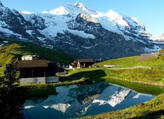 Jungfraujoch La Jungfrau en son miroir