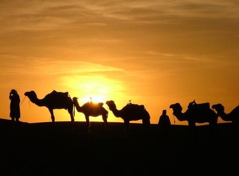 Coucher de soleil sur le désert du Sahara